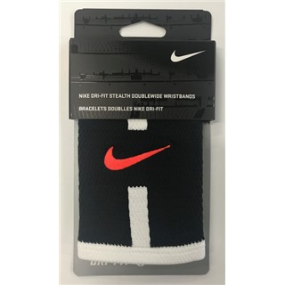 Nike Dri-Fit Stealth Doublewide Wristbands - Orange/Black