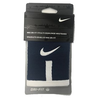 Nike Dri-Fit Stealth Doublewide Wristbands - Navy/White