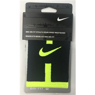 Nike Dri-Fit Stealth Doublewide Wristbands - Black/Fluro Yellow