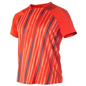 Asics Athlete Short Sleeve Top - Cone Orange Volley Stripe
