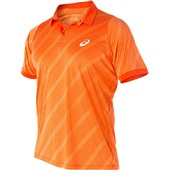 Asics Club Graphic Short Sleeve Polo - Cone Orange Shadow Net