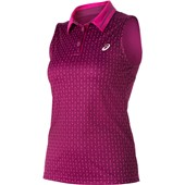 Asics Club Sleeveless Polo - Plum Dashed Line